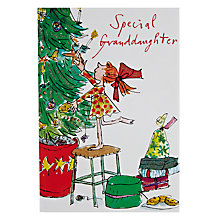 Buy Woodmansterne Girl Stretching up to Fix Star on Tree Christmas Card Online at johnlewis.com