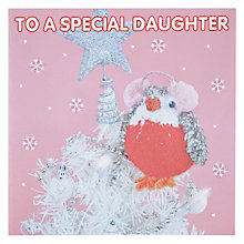 Buy Mint To a Special Daughter Knitted Robin Christmas Card Online at johnlewis.com