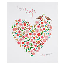 Buy Woodmansterne To My Wife Holly Heart Christmas Card Online at johnlewis.com