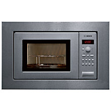 Buy Bosch HMT75G651B Built-In Compact Microwave with Grill, Brushed Steel Online at johnlewis.com