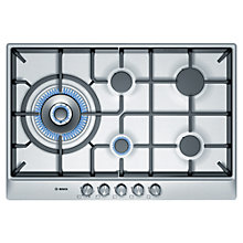 Buy Bosch PCS815B90E Gas Hob, Brushed Steel Online at johnlewis.com