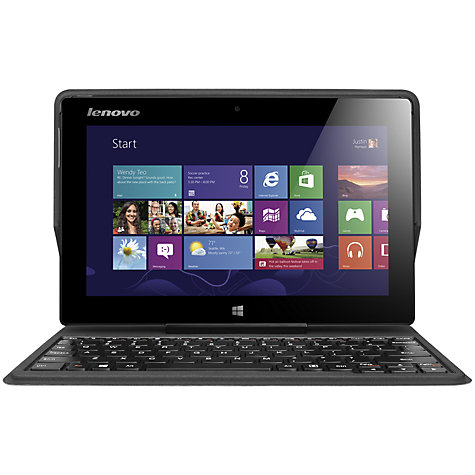 "Buy Lenovo Miix Tablet with Folio Case Keyboard Dock, Intel Atom, Windows 8, 10.1"", Wi-Fi, 64GB, Silver Online at johnlewis.com"