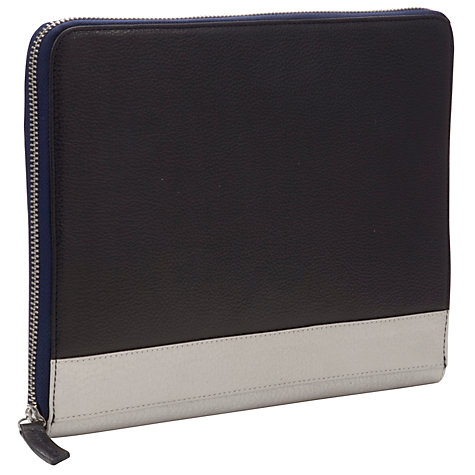 "Buy John Lewis Leather Sleeve for Tablets up to 10.1"", Navy & Silver Online at johnlewis.com"