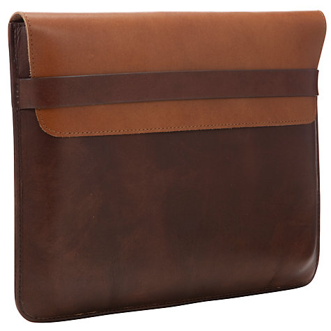 "Buy John Lewis 2-Tone Leather Sleeve for Tablets up to 10.1"", Brown Online at johnlewis.com"
