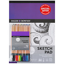 Buy Daler Rowney A4 Sketching Pad with Colouring Pencils Set Online at johnlewis.com