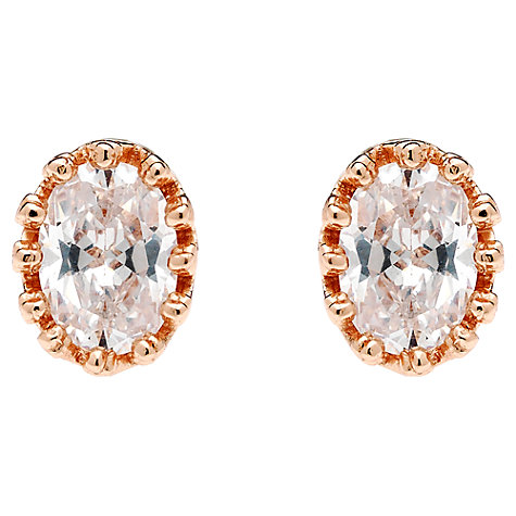 Buy Jou Jou Rose Gold Plated Sterling Silver Cubic Zirconia Oval Stud Earrings Online at johnlewis.com