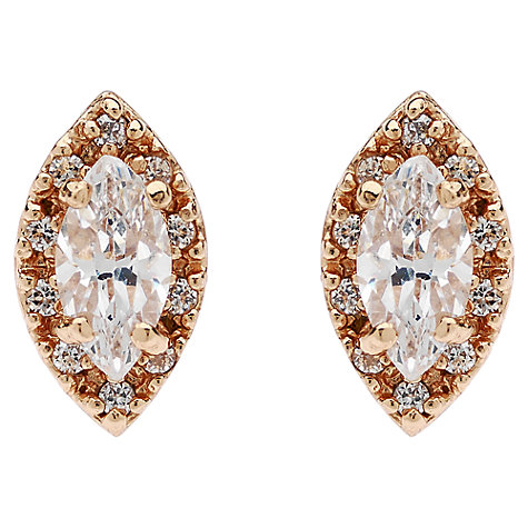 Buy Jou Jou Sterling Silver Navette Cubic Zirconia Stud Earrings Online at johnlewis.com