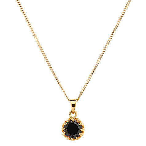 Buy Jou Jou Sterling Silver Round Cubic Zirconia Pendant, Gold / Black Online at johnlewis.com