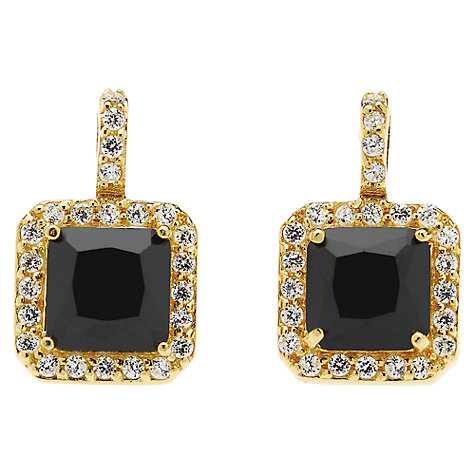 Buy Jou Jou Sterling Silver Square Cubic Zirconia Earrings, Gold / Black Online at johnlewis.com