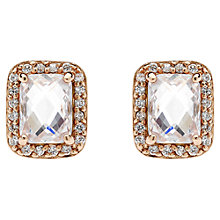 Buy Jou Jou Sterling Silver Cubic Zirconia Rectangular Stud Earrings, Rose Gold Online at johnlewis.com