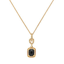 Buy Jou Jou Sterling Silver Rectangular Cubic Zirconia Drop Pendant, Gold / Black Online at johnlewis.com