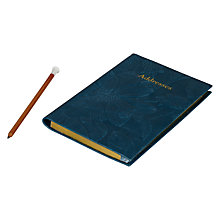 Buy Leathersmith of London Regent Address Book and Pencil Set, Teal Online at johnlewis.com