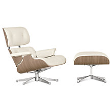 Buy Vitra Eames Lounge Armchair + Ottoman, White/Walnut Online at johnlewis.com