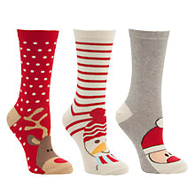 Buy John Lewis Cotton Xmas Toe Characters Ankle Socks, Pack of 3, Multi Online at johnlewis.com