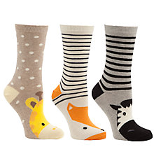 Buy John Lewis Cotton Animal Toe Characters Ankle Socks, Pack of 3, Multi Online at johnlewis.com