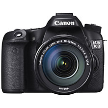 "Buy Canon EOS 70D Digital SLR Camera with 18-135mm IS STM Lens, HD 1080p, 20.2MP, Wi-Fi, 3"" LCD Screen + Memory Card & Shoulder Bag Online at johnlewis.com"