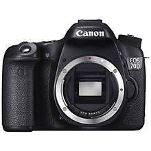 "Buy Canon EOS 70D Digital SLR Camera, HD 1080p, 20.2MP, Wi-Fi, 3"" LCD Screen, Body Only with Gadget Bag Online at johnlewis.com"