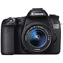 "Buy Canon EOS 70D Digital SLR Camera with 18-55mm IS STM Lens, HD 1080p, 20.2MP, Wi-Fi, 3"" LCD Screen with 16GB + 8GB Memory Card Online at johnlewis.com"