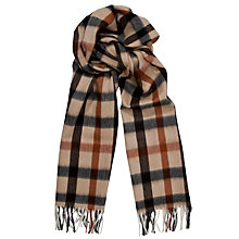 Buy Daks Lambswool Angora Large Check Scarf, Stone Online at johnlewis.com