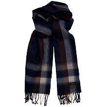 Buy Daks Lambswool Angora Check Scarf, Navy Online at johnlewis.com