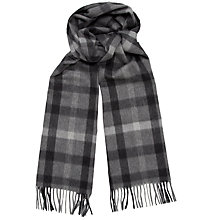 Buy Daks Lambswool Angora Large Tonal Check Scarf, Grey Online at johnlewis.com
