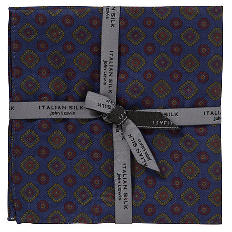 Buy John Lewis Italian Silk Printed Pocket Square, Navy/Red/Yellow Online at johnlewis.com