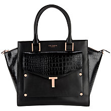 Buy Ted Baker Baillie Leather Tote with Detachable Clutch Bag, Black Online at johnlewis.com