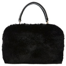 Buy Dune Dfurs Faux Fur Barrel Bag, Black Online at johnlewis.com