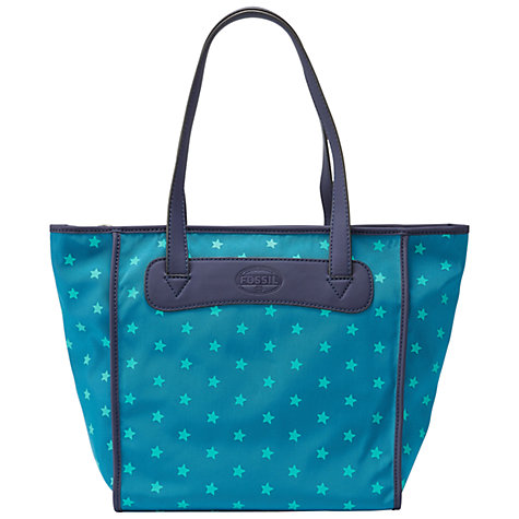 Buy Fossil Key-Per Shopper Handbag, Teal Stars Online at johnlewis.com