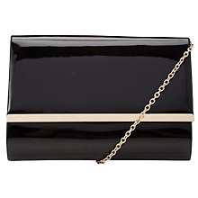 Buy John Lewis Dita Patent Gold Trim Clutch Bag, Black Online at johnlewis.com