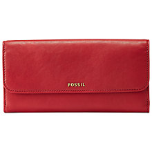 Buy Fossil Memoir Flap Checkbook Wallet, Cranberry Online at johnlewis.com