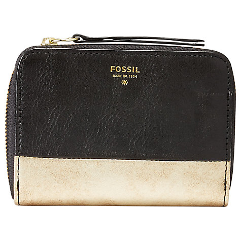 Buy Fossil Sydney Leather Zip Phone Wallet, Black Online at johnlewis.com