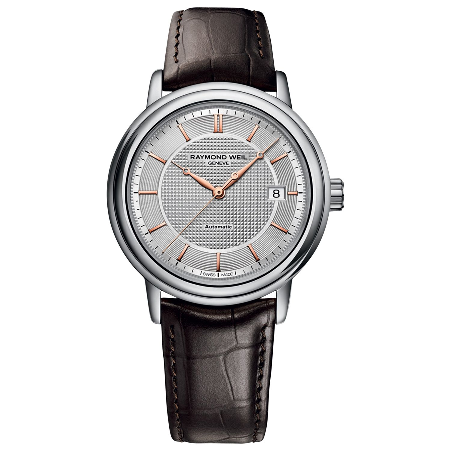 Raymond Weil Raymond Weil 2837-SL565001 Men's Maestro Automatic Leather Strap Watch, Dark Brown/Silver