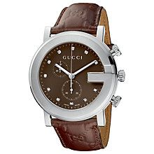 Buy Gucci YA101344 Unisex G-Timeless Chronograph Diamond Dial Watch, Brown Online at johnlewis.com
