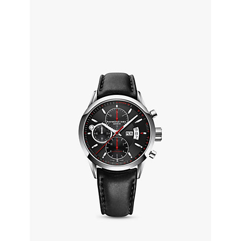 Buy Raymond Weil 7730-ST20041 Men's Freelancer Automatic Chronograph Leather Strap Watch, Black Online at johnlewis.com