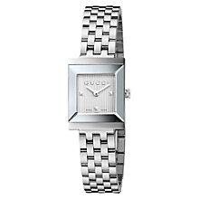 Buy Gucci YA128402 Women's G-Frame Textured Dial Bracelet Strap Watch, Silver Online at johnlewis.com