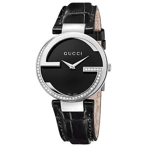 Buy Gucci YA128510 Women's Interlocking G Diamond Set Leather Strap Watch, Black Online at johnlewis.com
