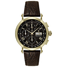 Buy Dreyfuss & Co DGS00051/16 Men's 1926 Automatic Chronograph Leather Strap Watch, Gold / Brown Online at johnlewis.com