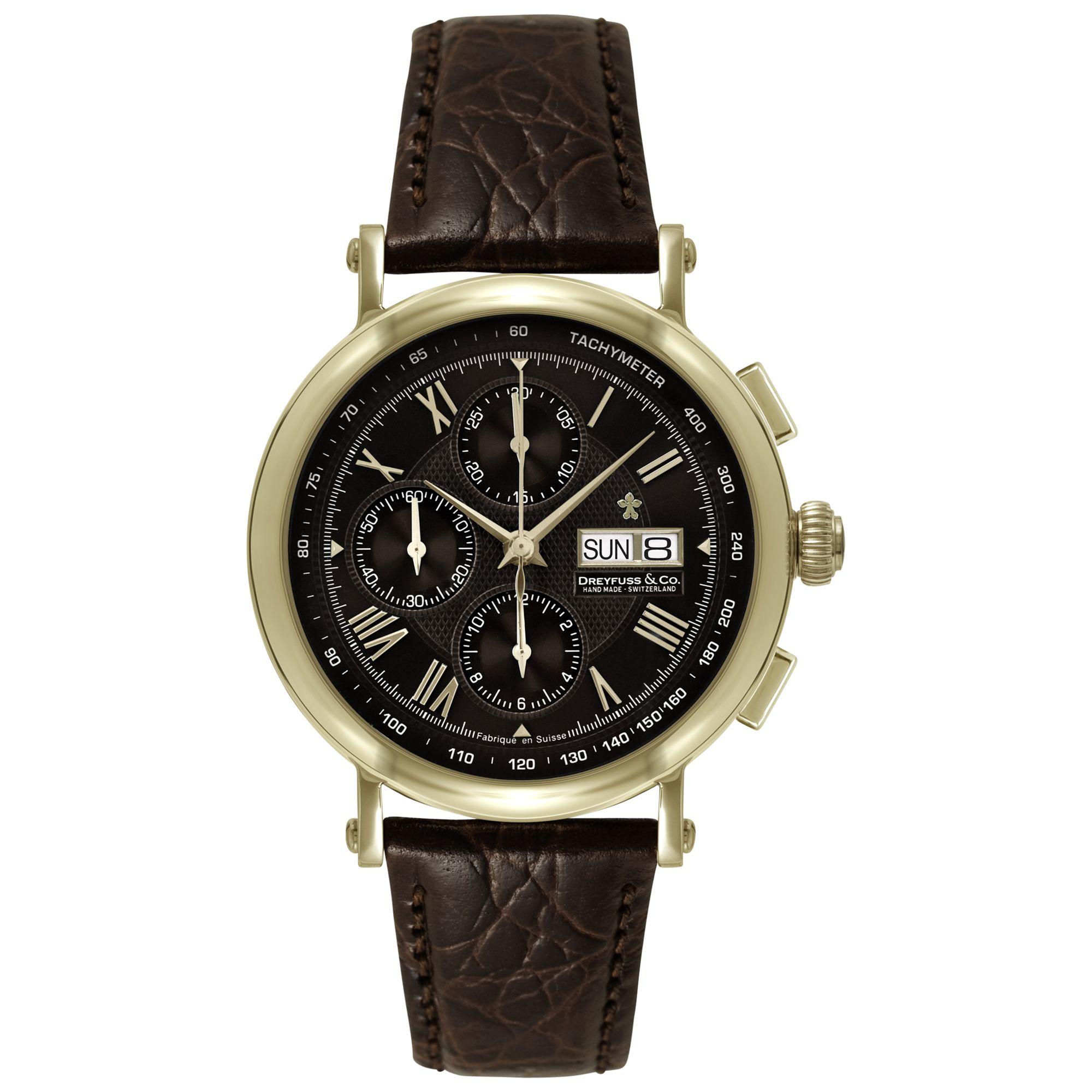 Dreyfuss & Co Dreyfuss & Co DGS00051/16 Men's 1926 Automatic Chronograph Leather Strap Watch, Brown/Black