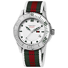 Buy Gucci YA126231 G-Timeless XL Men's Fabric Strap Sports Watch, Red / Green Online at johnlewis.com