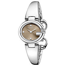 Buy Gucci Women's Guccissima Stainless Steel Bangle Diamond Watch Online at johnlewis.com