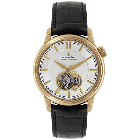 Buy Dreyfuss & Co DGS00093/02 Men's Seafarer Automatic Skeleton Window Watch, Black / Rose Gold Online at johnlewis.com