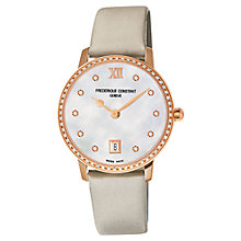 Buy Frederique Constant FC-220MPW4SD34 Women's Slim Line Joaillerie Satin Strap Watch, Rose Gold Online at johnlewis.com