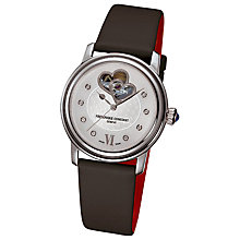 Buy Frederique Constant FC-310WHF2P6 Women's World Heart Federation Satin Strap Watch, Black Online at johnlewis.com