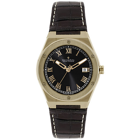 Buy Dreyfuss & Co DGS00090/10 Men's Seafarer Leather Strap Watch, Brown / Rose Gold Online at johnlewis.com