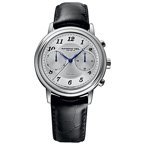 Buy Raymond Weil 4830-STC05659 Men's Maestro Automatic Leather Strap Watch, Silver / Black Online at johnlewis.com