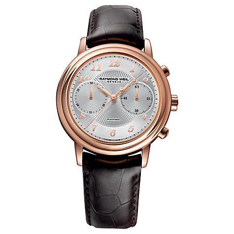 Buy Raymond Weil 4830-PC505658 Men's Maestro Automatic Leather Strap Watch, Rose Gold Online at johnlewis.com