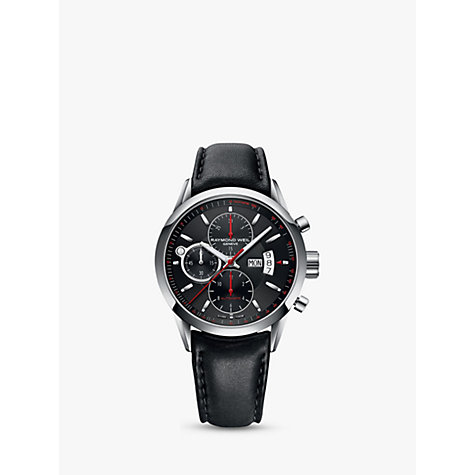 Buy Raymond Weil 7730-STC20041 Men's Freelancer Automatic Chronograph Leather Strap Watch, Black Online at johnlewis.com