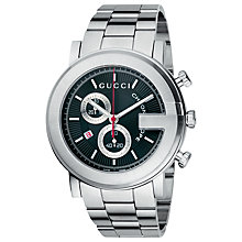 Buy Gucci YA101309 Men's G-Timeless Chronograph Stainless Steel Watch, Silver / Black Online at johnlewis.com