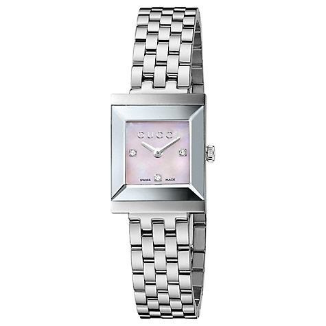 Buy Gucci YA128401 Women's G-Frame Stainless Steel Bracelet Strap Watch, Silver Online at johnlewis.com